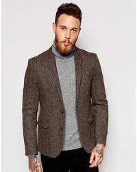 Blazer de tweed en marrón oscuro