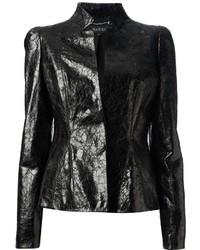 Blazer en cuir noir Gucci