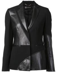 Blazer en cuir noir Versace