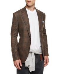 Blazer en laine écossais brun Brunello Cucinelli