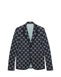 Blazer estampado azul marino de Gucci
