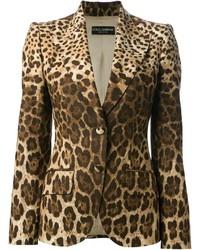 Blazer imprimé léopard brun clair Dolce & Gabbana