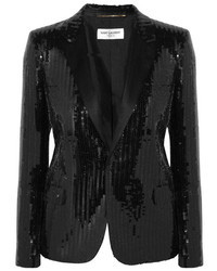 Blazer pailleté noir Saint Laurent