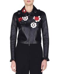 Blouson aviateur en cuir à fleurs noir Fendi