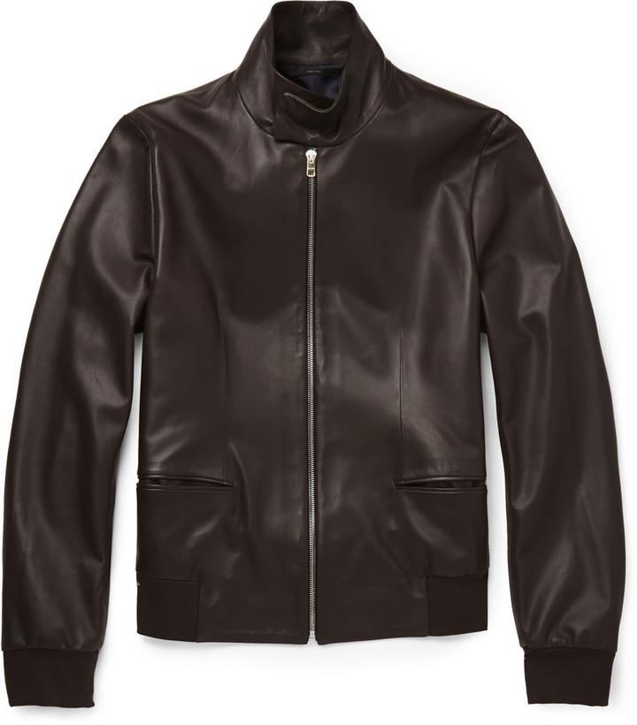 dca433ec603e7 Blouson aviateur en cuir brun foncé Paul Smith  Où acheter et ...