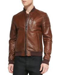 Blouson aviateur en cuir brun Belstaff