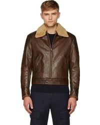 Blouson aviateur en cuir brun