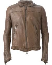 Blouson aviateur en cuir brun Giorgio Brato