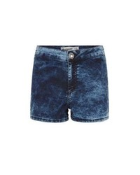 Blue Acid Denim Shorts