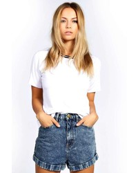 Boohoo Lexi Acid Wash High Waisted Denim Shorts