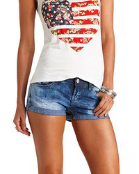 Charlotte Russe Acid Wash Cuffed Denim Shorts