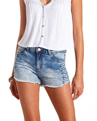 Charlotte Russe Chevron Embroidered High Waisted Denim Shorts