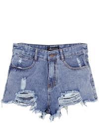 ChicNova High Waist Ripped Denim Shorts