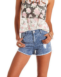 Charlotte Russe Refuge Hi Rise Cheeky High Waisted Denim Shorts