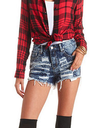 Charlotte Russe Shredded Cut Off High Waisted Denim Shorts