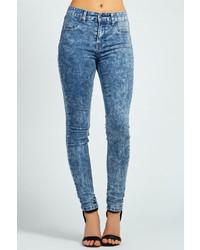 Boohoo Laila Dark Acid Wash Skinny Denim Jeans