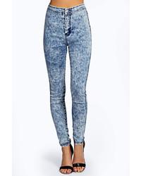 Boohoo Lara Super Skinny Acid Wash Tube Jeans