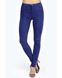 Boohoo Lara Super Skinny Cobalt Acid Wash Tube Jeans