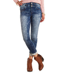 Charlotte Russe High Waisted Acid Wash Skinny Knit Jeans