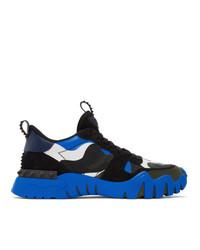 Valentino Black And Blue Garavani Rockrunner Plus Sneakers