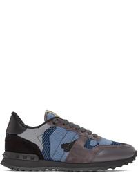Valentino Black Blue Garavani Camo Rockrunner Sneakers