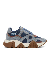 Versace Blue Denim Squalo Sneakers