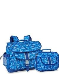 Bixbee Boys Large Shark Camo Water Resistant Backpack Lunchbox Blue