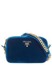 Prada Velvet Zip Top Chain Shoulder Bag