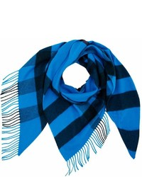 Burberry Check Cashmere Bandana Blue