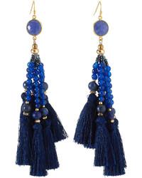 Nakamol Beaded Tassel Drop Earrings Navy