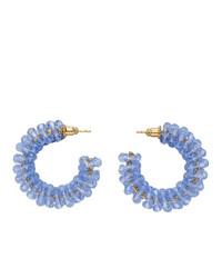 Simone Rocha Blue Small Crystal Beaded Hoop Earrings