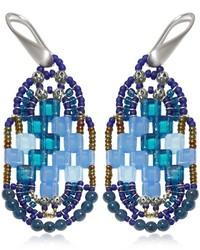 Ziio Pixel Blue Beaded Earrings