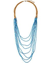 Nakamol Beaded Multi Strand Czech Crystal Necklace Sky Blue