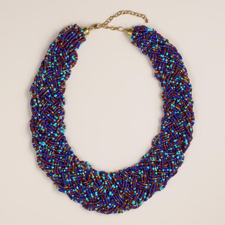 blue beaded necklace cost plus world market blue braided
