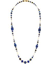 Jose & Maria Barrera Long Sodalite Jade Glass Beaded Necklace