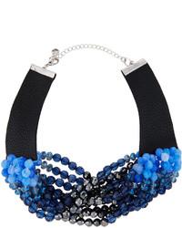 Lydell NYC Multi Strand Beaded Torsade Choker Necklace Blue Multi
