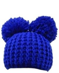 collection eighteen Blue Double Pom Knit Beanie Winter Hat Stocking Cap