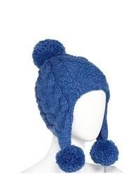 JCP Blue Lumpy Knit Trapper Style Beanie Hat With Pom Pom Top Aviator