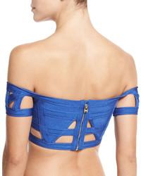 Herve Leger Cutout Bandage Off Shoulder Bikini Top Blue