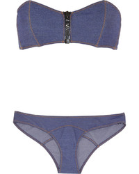 Lisa Marie Fernandez Lauren Stretch Denim Bandeau Bikini Mid Denim