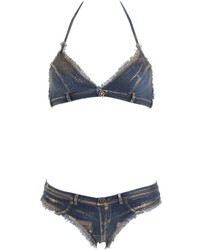Pin Up Stars Metallatic Denim Effect Lycra Bikini