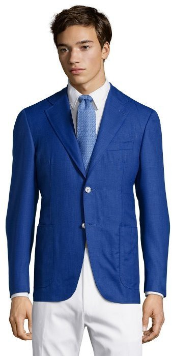 Canali Bright Blue Wool Tweed Kei Two Button Blazer | Where to buy ...