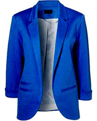 Choies Slim Blazer In Blue