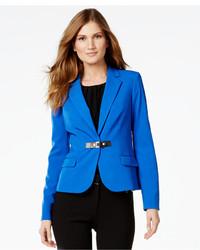 Calvin Klein Faux Leather Trim Buckled Blazer