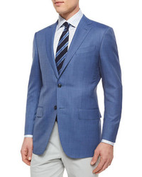 Micro check wool blazer blue medium 159132