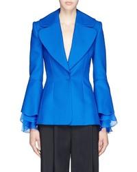 Roksanda Schfer Ruffle Bell Sleeve Silk Mohair Wool Jacket