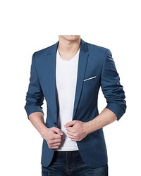 VOBAGA Slim Fit Stylish Casual One Button Suit Coat Jacket Business Blazers