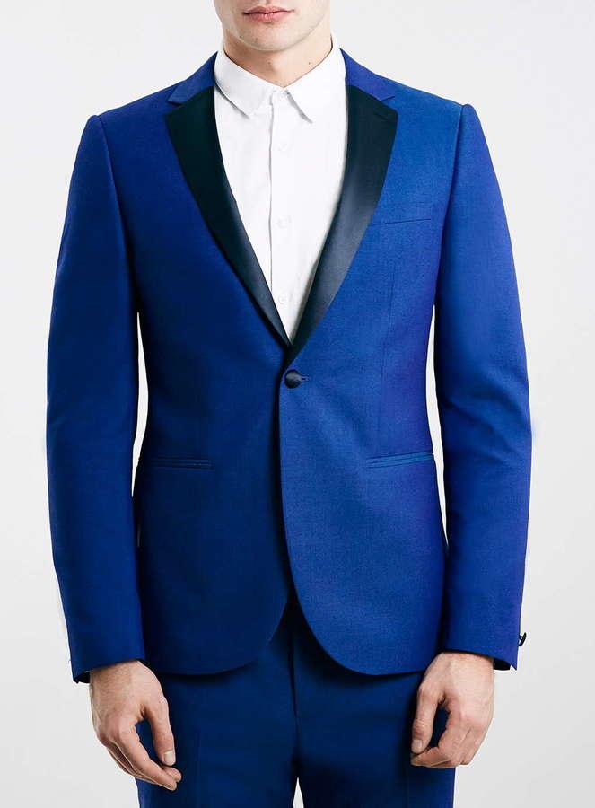 ... Topman Premium Cobalt Blue Skinny Fit Tuxedo Jacket ...