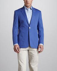 Paul Smith Two Button Twill Blazer Blue