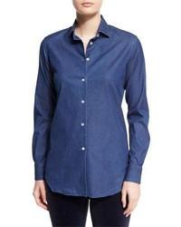 Loro Piana Kara Denim Button Front Blouse Insignia Blue